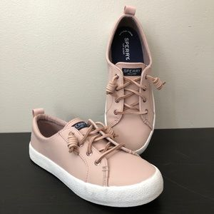 NEW Sperry Crest Vibe Blush Rose Leather Sneakers